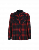 COURTLY: Shirt in navy, red and white rayon check with lace