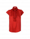 SPARK: Short sleeve top with tie collar in red satin