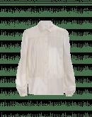 MAIDEN: Camicia in raso avorio con effetto lucido e opaco
