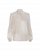 MAIDEN: Multi-panel matt and shine shirt in ivory silk crêpe