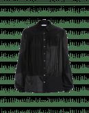 MAIDEN: Camicia in raso nero con effetto lucido e opaco