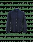 DEBATE: Blue silk shirt with soft round collar