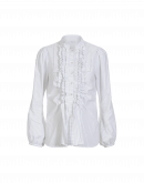 BLINK: Camicia rigata con balze multiple e pizzo
