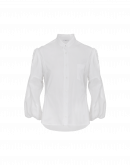 POLITELY: White poplin shirt with 3/4 voile sleeves