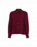 SPECIFY: Burgundy button-down shirt with lace collar