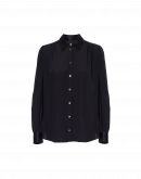 GLIMMER: Long sleeve shirt in black satin