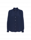 GLIMMER: Long sleeve shirt in navy satin