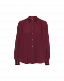 GLIMMER: Long sleeve shirt in burgundy satin