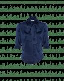 SPIRITED: Camicetta a manica corta e collo alto in raso di seta blu navy