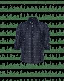 SCRUPLE: White and navy polkadot button-down shirt