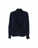 CULTURED: Stand collar shirt with waterfall drape