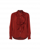 CULTURED: Camicia con balze frontali color rosso terracotta