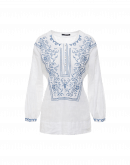 DEVOTED: Embroidered shirt in white ramie