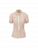 IN-FAVOUR: Pink floral cotton and voile shirt