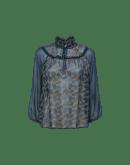 INNOCENCE: Camicia in chiffon di seta blu scuro e oro con collo a volant