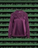 DREAMER: Camicia color melanzana in seta con roche sul collo