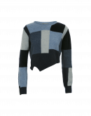 COMPOSE: Colour block Shetland sweater in shades of blue