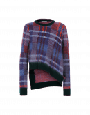 U-TURN: Orange, purple and green check mohair mix sweater