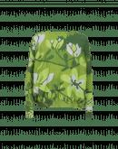 FLOWERING: Multi-green leaf and stripe pattern sweater