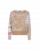 DECORATE: Ochre and white curlicue and stripe cotton sweater