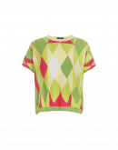 GO-GETTER: Pink, green and yellow harlequin sweater