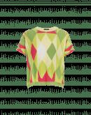 GO-GETTER: Maglia con motivo a losanghe rosa, gialla e verde