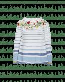 HARMONIC: Maglia a righe bianche e blu con motivo floreale
