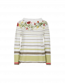 HARMONIC: Cream and green stripe sweater with floral