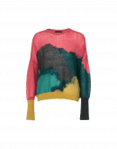 "UPLIFTING: Sweater in mohair nylon multi-colour ""splash-work"" pattern"
