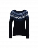 CRAFTY: Navy cable sweater with navy and cream mohair yoke