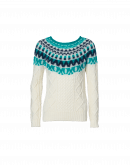 CRAFTY: Cream cable sweater with navy and teal mohair yoke
