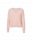 FANATIC: V-neck sweater in pale pink angora mix