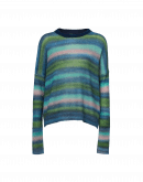 "BRIGHTEN UP: Blue, pink and green stripe ""spray"" painted sweater"