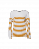 HARMONIZE: Ivory wool crewneck sweater with yellow ochre stripes