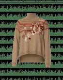 FLEURET: Pullover mit hohem Kragen, Blumendruck und Reliefstreifen