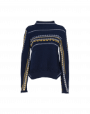 PUZZLE: Navy multi-stitch and pattern wool sweater