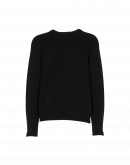 PLAYER: Black tech-knit crew neck sweater