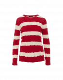 OFFSHORE: Ecru and red textured stripe sweater