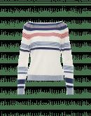 FETE: Ecru, navy and red multi-stripe sweater