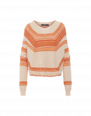 AMAZING: Ecru and orange crochet knit sweater