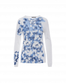 "BRILLIANT: Ultra light sweater in white with blue ""brush"" print"