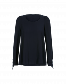 EARLY: Scoop neck top in navy rayon