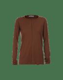 WORTHWHILE: T-shirt a maniche lunghe marrone castano