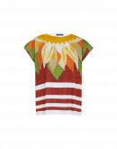 """ADMIRATION: Square-cut """"embroidery"""" print tee"""