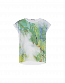 PICTURESQUE: T-shirt in jersey stampato e tessuto rigato