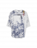 """ELABORATE: Stamp"""" print t-shirt with inset front panel"""