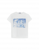 SKY-LIGHT: T-shirt con stampa frontale applicata