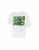 "CLICK: Asymmetric ""Art"" t-shirt in white cotton"