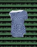 JOSTLE: Asymmetrically draped navy gingham top