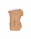 JOSTLE: Asymmetrically draped camel gingham top